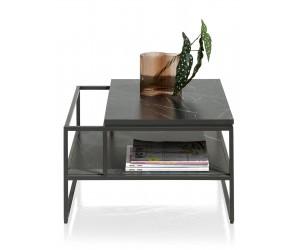 Bout de canapé plateau effet marbre noir et structure métallique