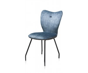 Chaise contemporaine en velours bleu