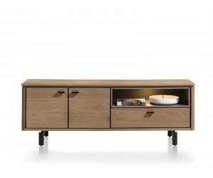 Meuble TV moderne placage bois de chêne doré