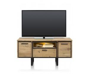 Meuble TV industriel en bois de kikar massif avec éclairage LED