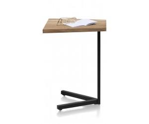 Tablette d'appoint pour PC en bois massif et pied métal noir