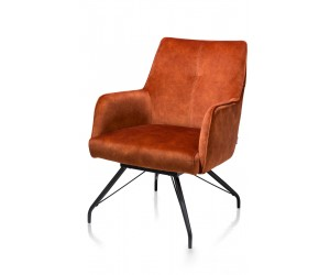 Fauteuil contemporain en velours orange