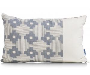 Coussin rectangulaire réversible en tissu bleu gris et cognac