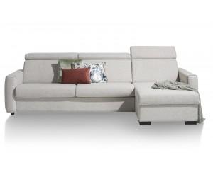 Canapé convertible en tissu gris clair avec méridienne et box de rangement