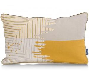 Coussin rectangulaire jaune et gris avec motifs géométriques