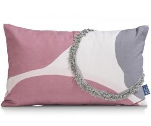 Coussin rectangulaire en coton gris et rose
