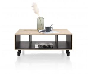 Table basse sur roulettes design moderne et minimaliste en placage bois de chêne