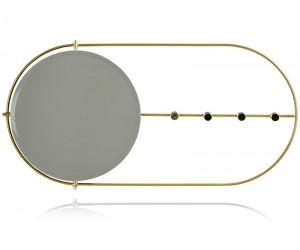 Miroir porte-manteau mural en métal doré