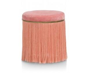 Pouf bohème en tissu corail avec frange