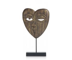 Sculpture en bois de manguier représentant 2 visages