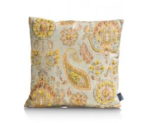 Coussin beige à imprimés floraux jaunes