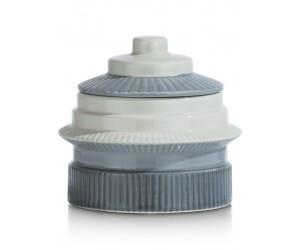 Pot en céramique bleu pastel avec couvercle