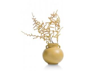 Petit vase large style jarre antique en céramique jaune