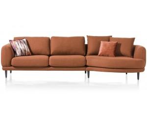 Canapé d'angle design contemporain et lignes arrondies en tissu terracotta