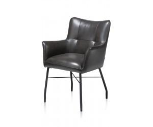 Chaise-fauteuil de table à manger en cuir noir