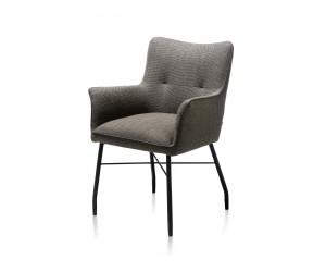 Chaise-fauteuil de table à manger en tissu anthracite