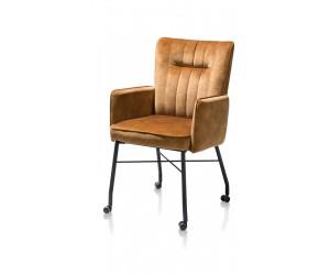 Chaise fauteuil contemporaine en tissu jaune ocre