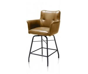 Chaise-fauteuil de bar en tissu marron