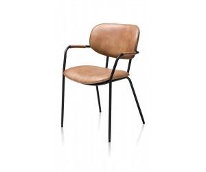 Chaise minimaliste et industrielle en tissu couleur cognac