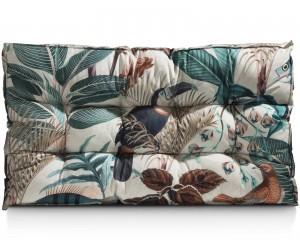 Grand coussin d'assise à franges imprimés jungle colorés