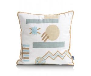 Coussin en coton blanc avec motifs géométriques couleurs pastel