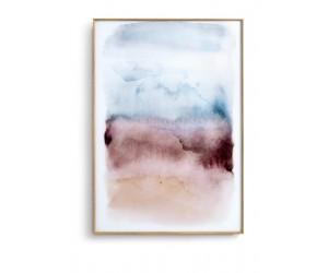Tableau rectangulaire représentant une aquarelle sur verre dans un cadre en bois de chêne
