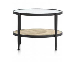 Table basse rétro chic à 2 niveaux avec tissage canné