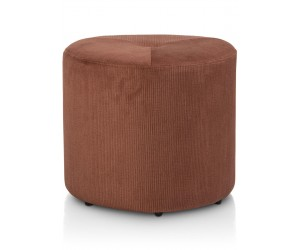 Pouf tendance en tissu côtelé couleur terracotta