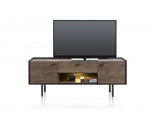 Meuble TV minimaliste et authentique en bois de chêne foncé