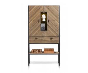 Armoire minimaliste et vintage en bois de chêne et métal noir