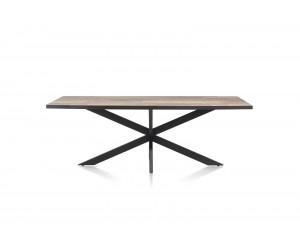 Table à manger rectangulaire plateau bois brut et piétement métal couleur anthracite