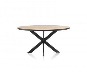 Table à manger ronde plateau en bois naturel et piétement métal anthracite