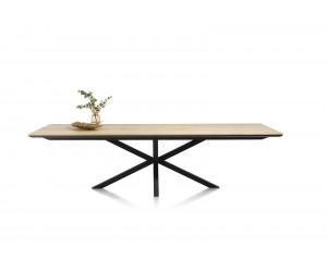Table à manger contemporaine et industrielle bois de chêne claire