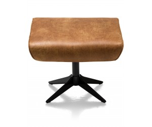 Pouf moderne en cuir marron et pied métal noir
