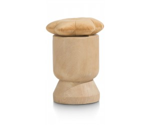 Tabouret décoratif en poly-résine effet bois naturel
