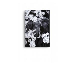 Tableau noir et blanc représentant un éléphant et des fleurs