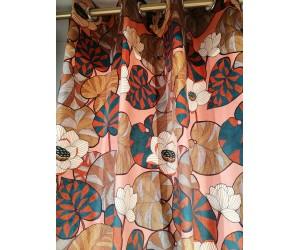 Rideau corail motifs floraux