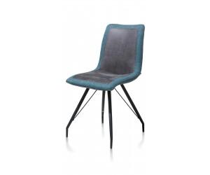 Chaise confortable bi matière sur pied métallique noir