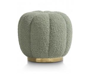 Pouf vert en tissu bouclé forme ronde