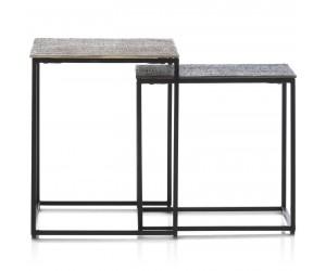 Tables d'appoint minimalistes en métal noire et plateau doré