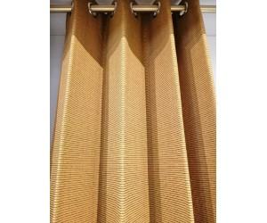 Rideau en tissu jaune moutarde imprimé lignes horizontales
