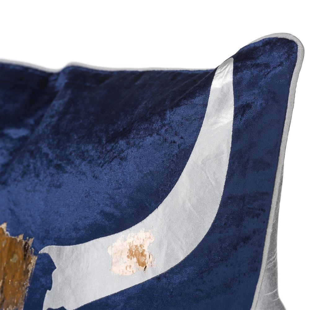 Coussin carré crane de taureau blanche et dorée fond bleu