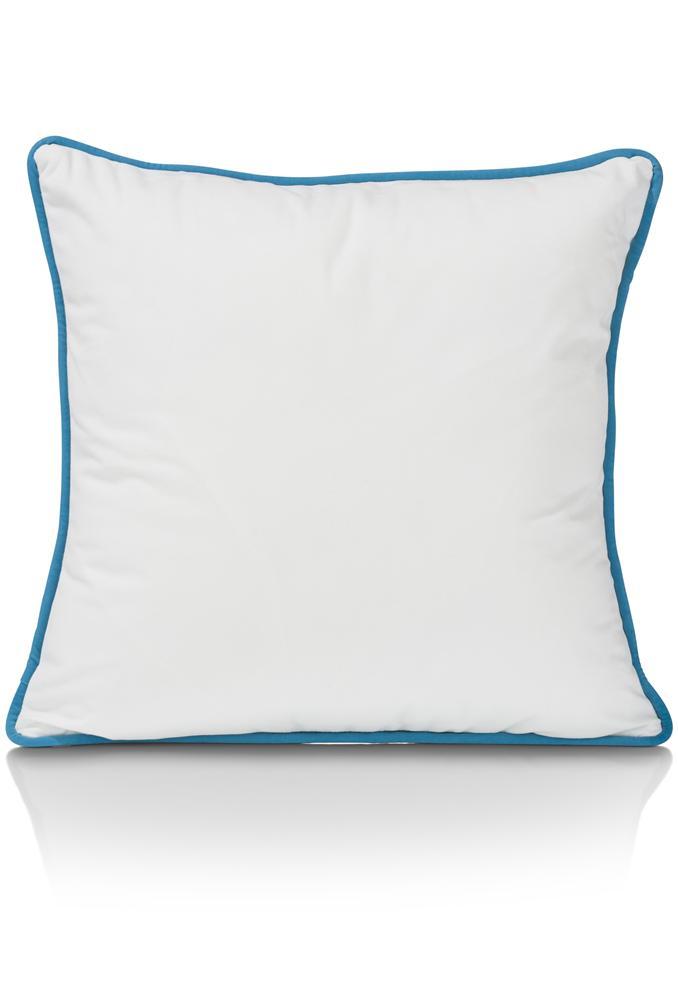Coussin carré bleu gris et blanc