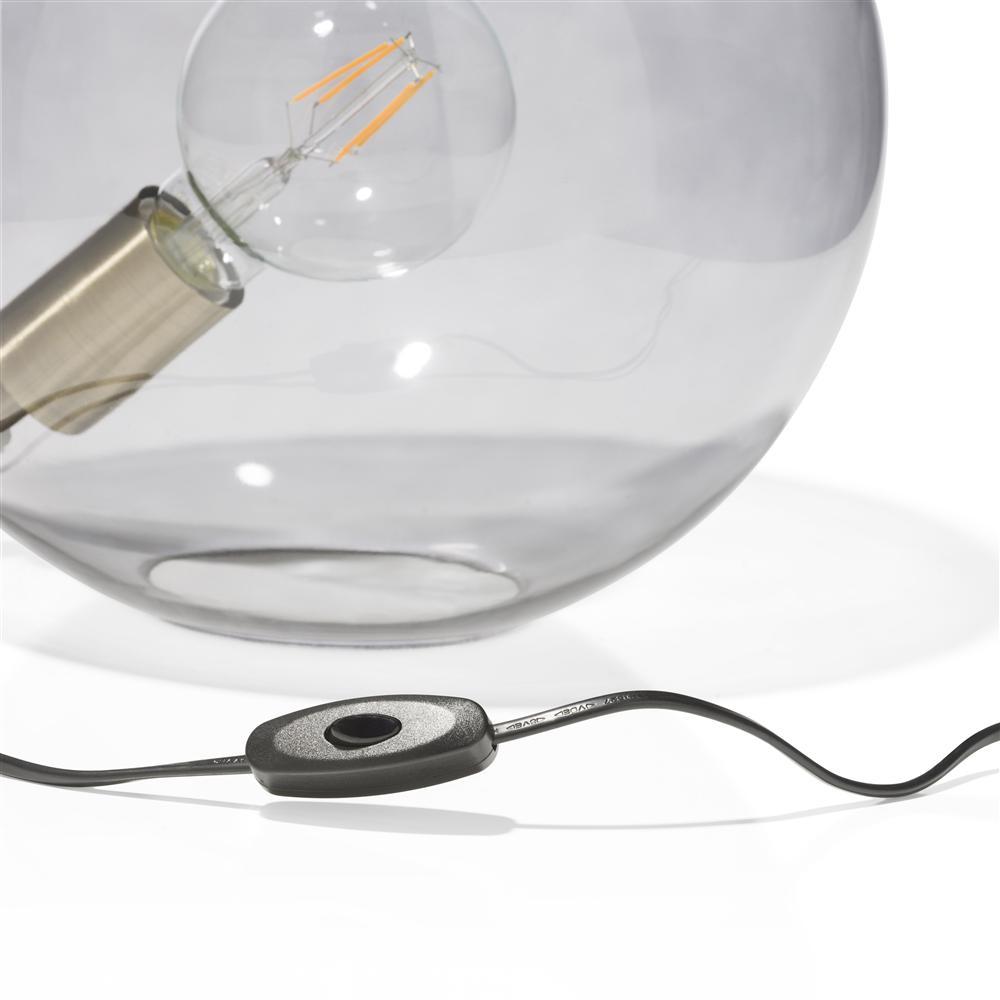 Lampe boule transparente grise