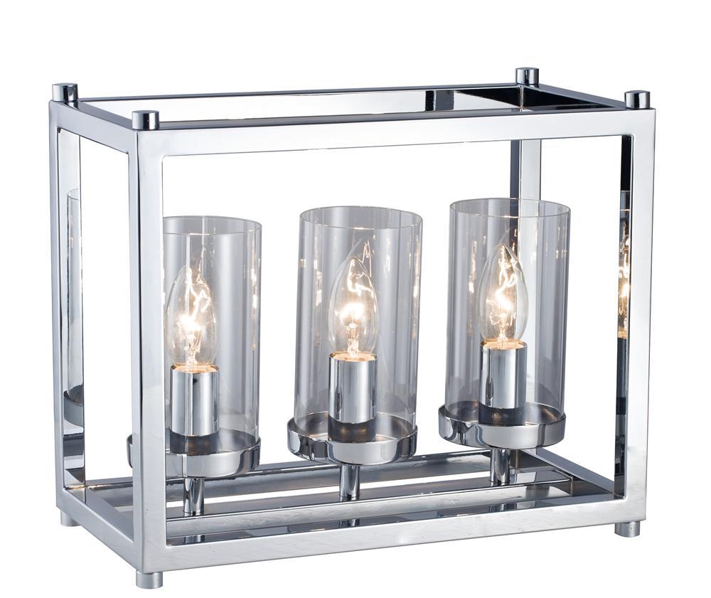 Lampe à poser argentée 3 ampoules