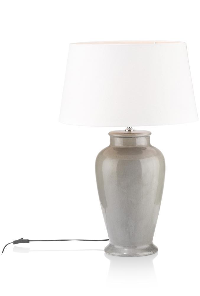 Lampe à poser grise et blanche