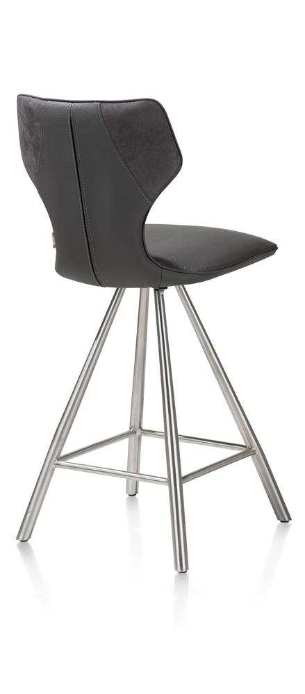 Chaise de bar anthracite pieds inox