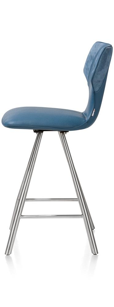 Chaise de bar bleue pieds inox