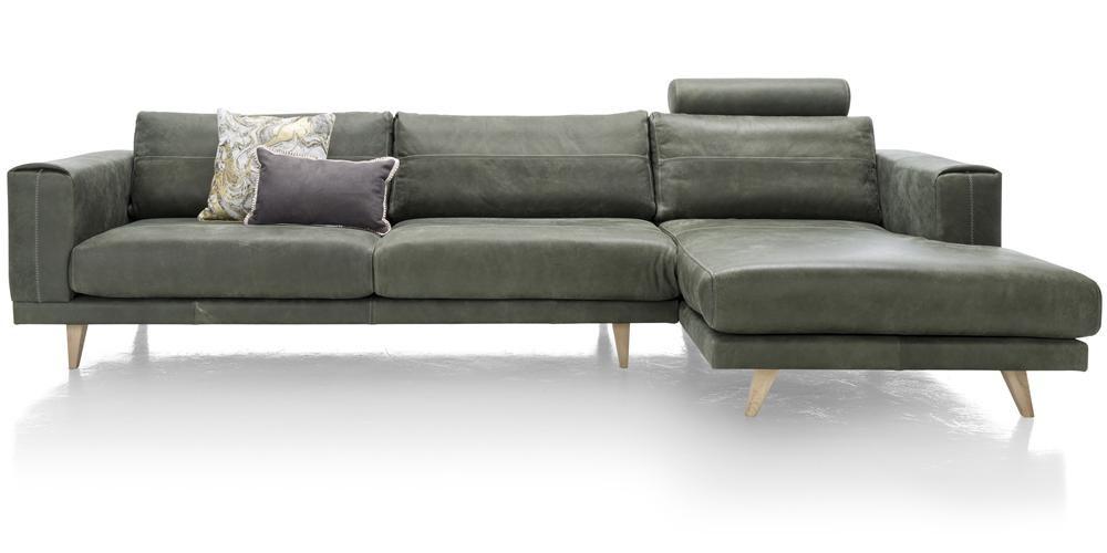 Canapé d'angle en cuir vert kaki