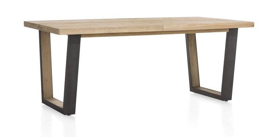 Table robuste et contemporaine en bois naturel et métal anthracite